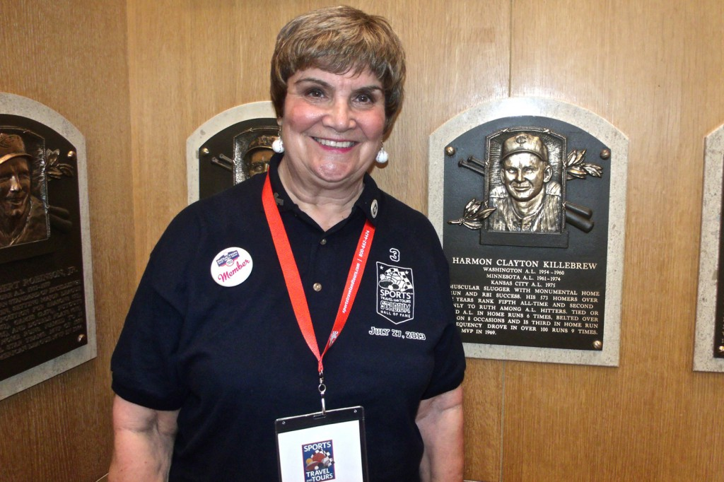 Merle Freeman visiting Harmon Killebrew's plaque at the National Baseball Hall of Fame and Museum