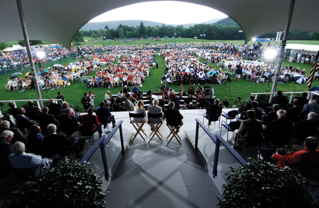 Induction Ceremony (from the stage), Clark Sports Center, Cooperstown, NY